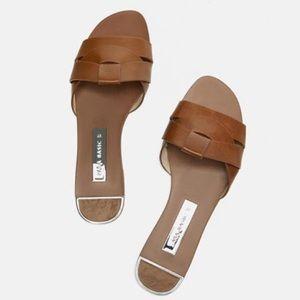 Zara basic crossover brown sandals